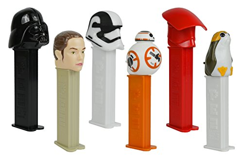 Set of 6 PEZ Candy Star Wars Random Assortment of Pez Dispensers With 2 Rolls of Refills Each! -