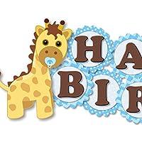 Blue Giraffe Birthday Banner for Boy - HAPPY 1st BIRTHDAY Garland Party Decoration - Handmade in USA
