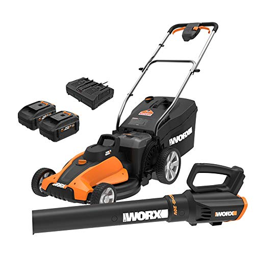 WORX WG959 17-inch 40V (4.0Ah) WG744 Cordless Lawn Mower and WG547.9 Power Share Cordless Turbine Blower Battery and Charger Included