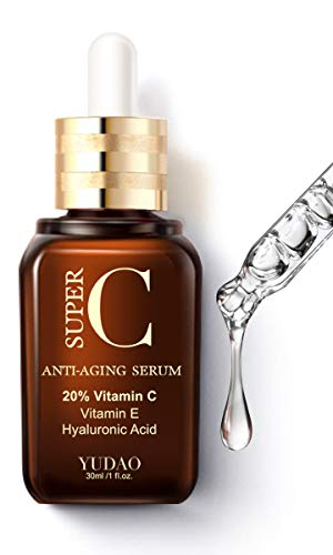 Yudao Vitamin C Facial Serum, 1 fl. oz - with 20% Natural Organic VC for Face & Eyes + VE + Hyaluronic Acid for Anti-Aging, Wrinkles, and Fine Lines