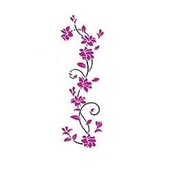 Start 3D Flower Vine Removable Wall Sticker Art Decor Decal Stickers Home Shop Windows Murals Environmental friendly Wallpaper (Hot Pink)