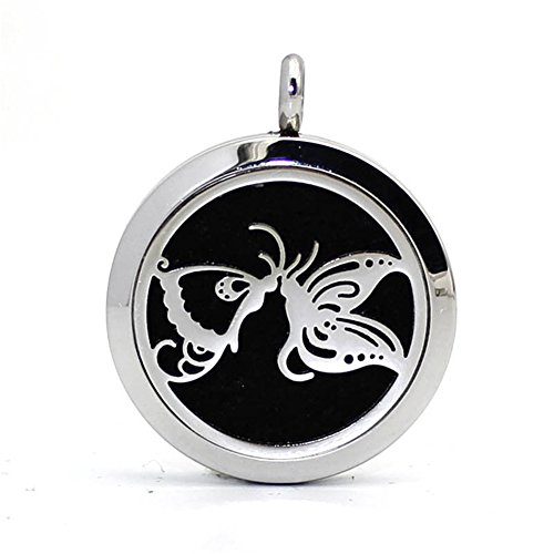 Stainless Steel Hollow Carved Butterfly Kiss Aromatherapy Essential Oil Diffuser Pendant Necklace Photo Locket,10 Felt ()
