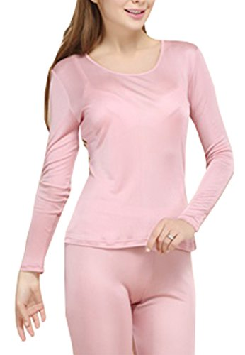 Fashion Silk Women's Thermal Underwear Sets Mulberry Silk Crewneck Stretch 2pc Base layer (Large, Rubber Red)