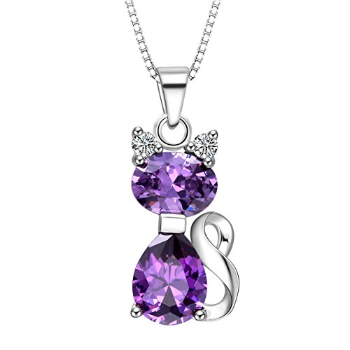 Plated Cat Pendant - ATDMEI Amethyst Cat Pendant Necklace for Women Girls Sterling Silver Plated Jewelry Gifts