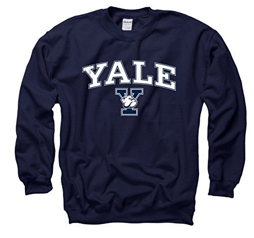 Campus Colors Yale Bulldogs Adult Arch & Logo Gameday Crewneck Sweatshirt - Navy, X-Large