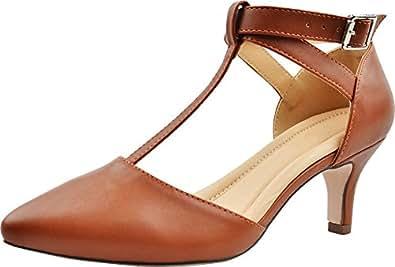 Cambridge Select Women's Pointed Toe T-Strap Mid Kitten Heel Pump Beige Size: 5.5