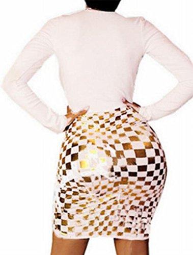 Long Neck White Jaycargogo Women Sexy Bodycon Hem Irregular Dress Glitter Sleeve V 7xnSCXHwn