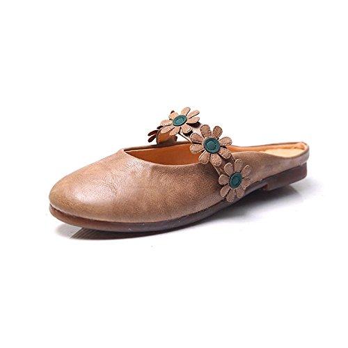 Albaricoque anciana de Zapatos Perezosos Planos Zapatos Mujer la La Color de Drag Abuela Zapatillas Baotou Zapatos ZgfdFwHq
