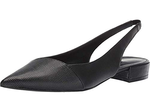 West Black Leather Slingback Pumps - Nine West Womens Forlove Flat Black/Black 7 M