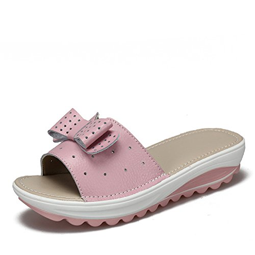 Wedges Women New Flats Cow Leather Flops Flip Pink Platform Sandals Baolustre Women's axgX8X