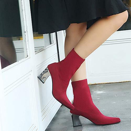 Cuir rouge Martin Chaussures Talon Dames Pointu Bottes En Zipper Dayseventh Bottines Bare Bloc Pompes Femmes 5 gZXH1px