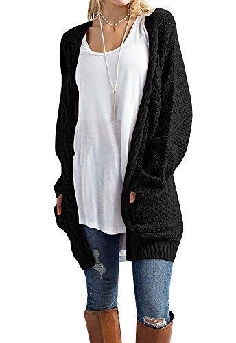 Imily Bela Women's Boho Long Sleeve Open Front Chunky Warm Cardigans Pointelle Pullover Sweater Blouses (Medium, Black)
