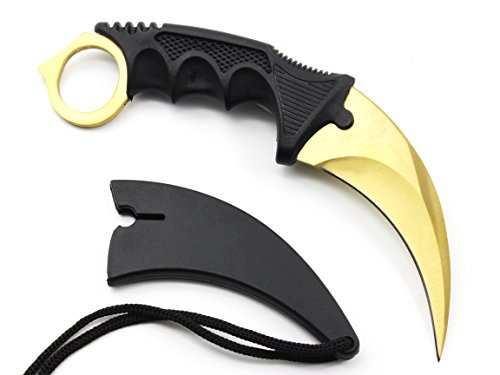 (HOSANA Karambit Knife Stainless Steel Fixed Blade Tactical Knife with Sheath and Cord Nice Knife for Hunting Camping Fishing and Field Survival (Gold))