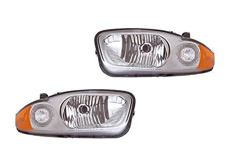 DEPO PERFORMANCE CHEVY CAVALIER 03 04 05 CHROME BEZEL HEAD LIGHTS LAMP PAIR SET