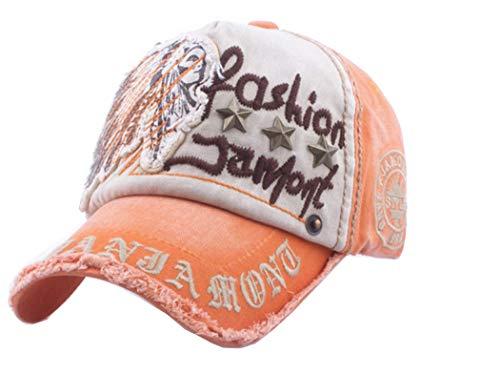 KONDL Cotton Fashion Embroidery Antique Style Baseball Cap Hat for Men Women Orange Beige