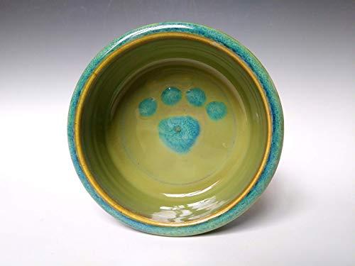 Small Pet Dog Cat Food Water Dish Bowl ~ Green Apple with Blue Swirl ~ Handmade Stoneware Ceramic