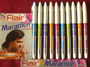 - 10 Pens Flair Marathon Fine & Long Writing Gel Pen Krrish Series BLUE Ink