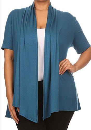CurvyLuv.com Women's Plus Size Open Draped Front Short Sleeve Cardigan Sweater Knit (3X, Teal) (Short Cardigan Sleeve Knit)