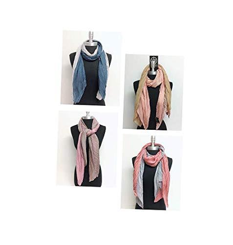 (ADLEY Elegant Scarf Lot of 12PCS Crinkle Two-Tone Inspired Shadow Stripe Silk Blend - EB303)
