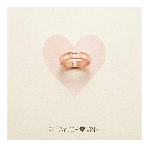 Engraved Vine - Secret Love Stones Heart Ring Engraved I Love You with CZ, Rose Gold Tone by Taylor and Vine