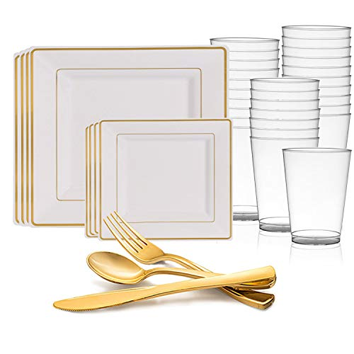 Disposable Plastic Dinnerware Set for 120 Guests - Includes Fancy Square White & Gold Dinner Plates, Dessert/Salad Plates, Silverware Set/Cutlery & Cups For Wedding, Birthday Party & Other -