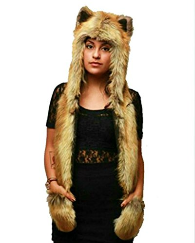FOX Anime Spirit Paws Ears Faux Animal Hood Hoods Mittens Gloves Scarf Zipper Pocket