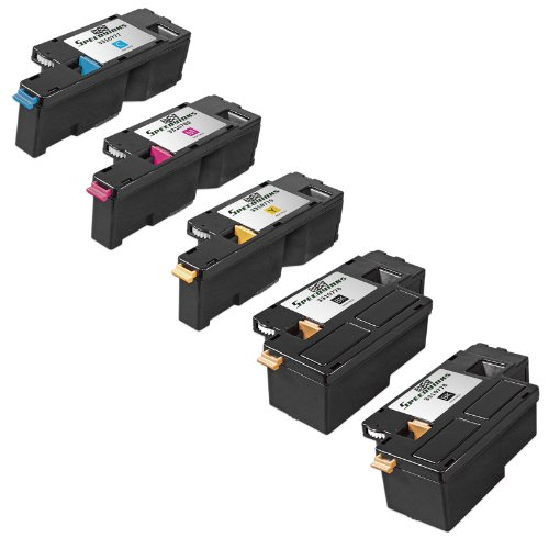 Speedy Inks - Compatible Dell 1250 Set of 5 Toner Cartridges for Dell 1250c, 1350cnw, 1355cn, and 1355cnw Printers: 2 Black, 1 Cyan, 1 Magenta, 1 Yellow