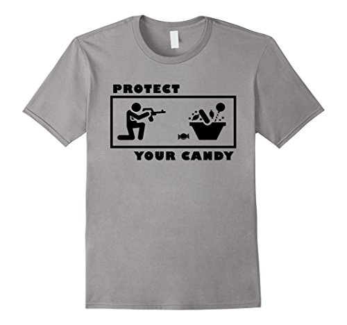 Mens Protect your Candy Shirt Funny Halloween Trick or Treat Medium Slate