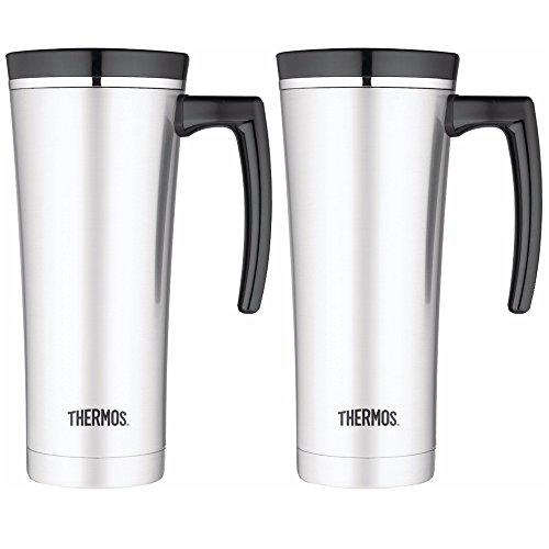 Thermos 16oz Vacuum Insulated Stainless Steel Travel Mug (Silver/Black) - 2PK by Thermos