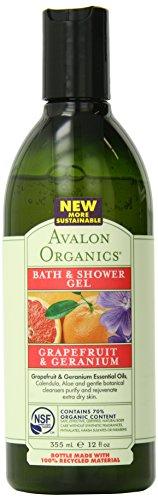 Avalon Organics Bath & Shower Gel, Grapefruit & Geranium, 12 Fluid Ounce