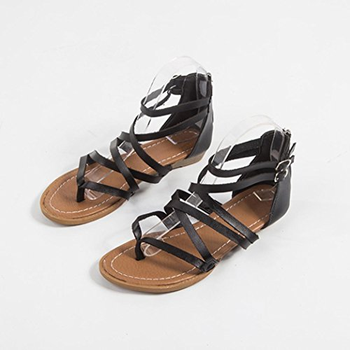Flat Sandals Sandals Beach Womens Inkach Strap Fashion Black Shoes Thong Flops Zipper Summer Flip Back Casual Cross qOxtz4Uw