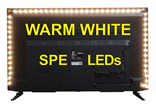 Bias Lighting for HDTV - Medium (78in / 2m) - 3500k Warm White - USB LED Backlight Strip for Flat Screen TV LCD, Desktop Monitors