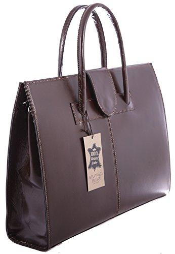 brown portefeuilles sac Made Dark cuir cartable véritable Femme Italy main à l'épaule 100 et sac in AwqqCZf