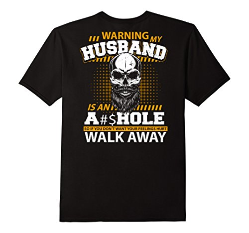 Mens Warning My Husband Is T-Shirt Funny Message Wife Costume 2XL Black