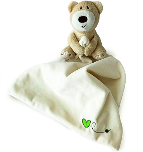 - Teddy Bear Snuggle Blankie. Plush Infant Security Blanket for Boys and Girls with Adorable Teddy Bear. Soothing and Fun, Light Yellow Color Animal Blankie. Safe For Children Material, Fully Certified