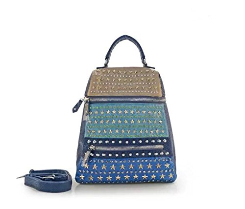 Flowertree Women's Snakeskin Patent Leather Hand Studded Star Backpack Shoulder Bag Silver (Blue) by flowertree