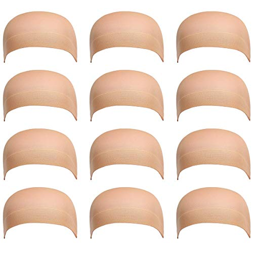 12 Pack Dreamlover Beige Stocking Wig Caps, Flesh Color Stretchy Nylon Close End Wig Caps, Each Paper Board Contains 2 Wig Caps, Beige ()