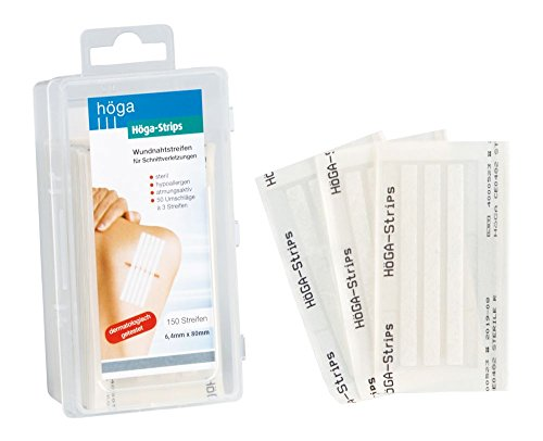 Höga Strips Wundnahtstreifen, 6.4 x 80 mm, 50 Umschläge á 3 Streifen, steril, hypoallergen, atmungsaktiv, Wundnahtstreifen für Schnittverletzungen