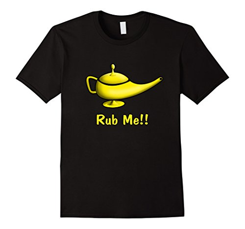 Men Genie Costumes (Mens Genie Lamp Rub Me T-Shirt | Naughty and Funny Genie T-shirt Large Black)
