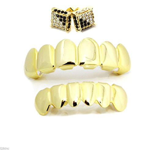 Hip Hop Gold Tone Bottom and Top Removable Grillz Set with Micro Pave Earrings