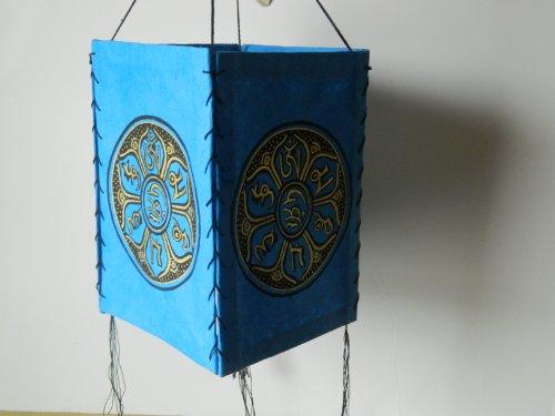 Handmade Paper Lokta Blue Lamp Shade with 2 PIECE COMBO