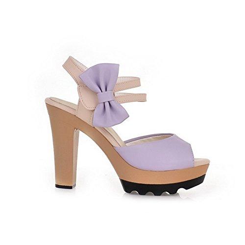 AllhqFashion Damen Gemischte Farbe Haken-und-Loop Hoher Absatz Sandalen mit Hohem Absatz Lila