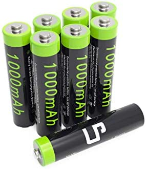 AAA Ni-MH Rechargeable Battery Pack, LP 8-Pack Triple-A Batteries with 1000mAh High Capacity for Clocks, Remotes, Toys, Cameras, Flashlights & More