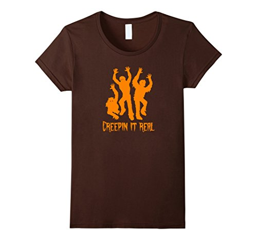 Three Person Halloween Costume Ideas (Womens Creepin It Real T-Shirt Tee Zombie Halloween Costume Shirt Medium Brown)