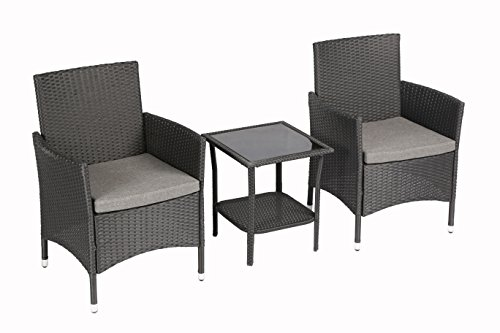 Baner Garden 3 Pieces Outdoor Furniture Complete Patio Cushion PE Wicker Rattan Garden Dining Set, Full, Black - Wicker 3 Piece Resin