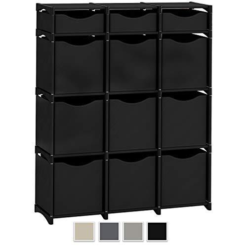 (Neaterize 12 Cube Organizer | Set of Storage Cubes Included | DIY Cubby Organizer Bins | Cube Shelves Ladder Storage Unit Shelf | Closet Organizer for Bedroom, Playroom, Livingroom, Office (Black) )