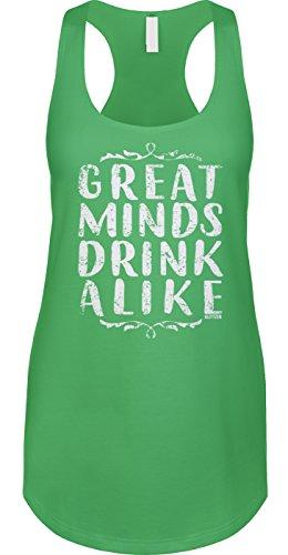 Blittzen Womens Tank Great Minds Drink Alike, 2XL, Green