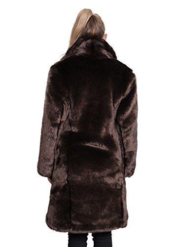 Medio Marron La Sintética Piel De Mujer Abrigo Lujo Largo Dama Crema Solapa Grande Para cFRPq