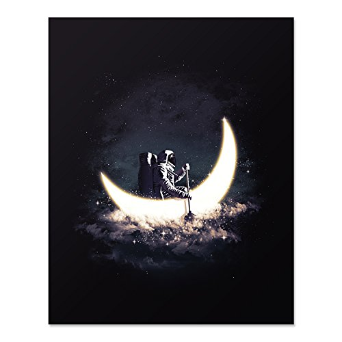 Crescent Moon and Astronaut Art Print Outer Space Rowing Boat Lunar Galaxy Celestial Stars Poster Home Decor 8 x 10 inches