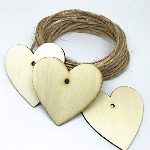 PatyHoll 100Pcs Shabby Chic 48x50mm Natural Wood Heart Tags Pendant Necklace DIY Crafts Slices Wedding Christmas Decorations Scrapbook